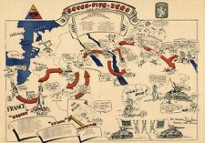 1945 WWII Military War Map Seven-Five-Zero Tank Battalion World War II Poster