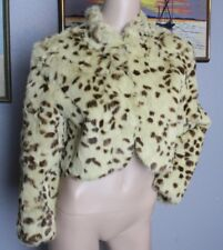 Revue Pale Lime Green Spotted Rabbit Animal Fur Cropped Jacket 8