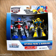 Transformers RESCUE BOTS Silver Force BUMBLEBEE & OPTIMUS PRIME PLAYSKOOL Rare