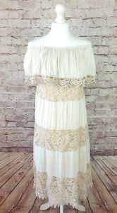 Made in Italy Off the Shoulder Maxi Dress Cream Light Chambray and Lace Size M