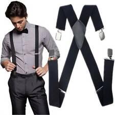 Black Braces Plain 35mm Wide & Heavy Duty Suspenders Adjustable Unisex Trousers