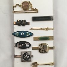 Tie Clip Bar Lot of 10 Mostly Figural Eclectic Unique Stone Chain Vintage G1