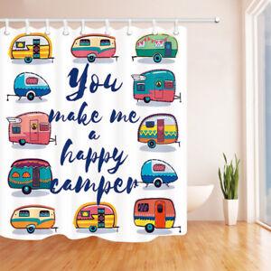 "Summer Happy Camper Bathroom Shower Curtain Waterproof Fabric / 12 Hooks 71*71"""