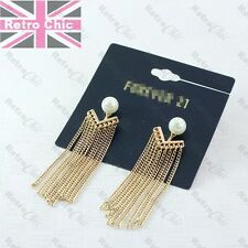 7cm long GOLD FASHION CHAINS halo earrings FRINGE metal layered PEARL STUDS boho