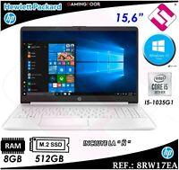 PORTATIL BLANCO HP 15S-FQ1048NS INTEL I5 8GB 512GB SSD M2 WINDOWS 10 TELETRABAJO