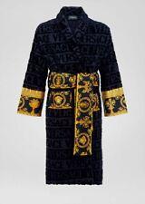VERSACE I ♡ BAROQUE LUXURY DRESSING GOWN COTTON BATHROBE - Black - Medium - BNWT