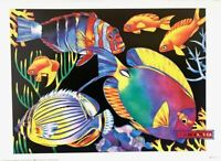 Barbara Wallace The Teeming Seas 1990 Vintage Fish Art Poster 20 x 28