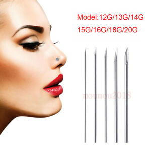 Stainless Steel Hollow Sterile Body Piercing Needles Used For Navel Ear Nose Lip