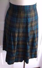 Vintage Womens 80s LL Bean Tartan Scotch Plaid Pleated Worsted Wool Skirt 6 USA
