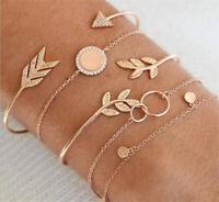 5Pcs/Set Ladies Gold Arrow Leaf Crystal Round Opening Bangle Chain Bracelet New