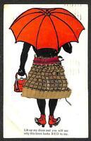 WOMAN RED UMBRELLA PURSE EMBROIDERED DRESS BLACK AMERICANA NOVELTY POSTCARD 1911