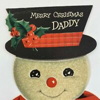 Vintage Greeting Card Christmas Mid Century Glitter Snowman Face Hat NORCROSS
