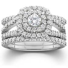 1 1/4 Ct Diamond помолвка подушка Halo обручальное кольцо трио комплект 10K белое золото