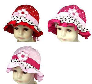 Sun Hat Cap Girls Child Baby Toddler Kids Summer Flower Bow Dot Heart Ruffle