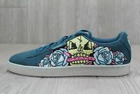 36 RARE Puma Suede Day of the Dead Skeleton Embroidered Mens Shoes Sz 8-12