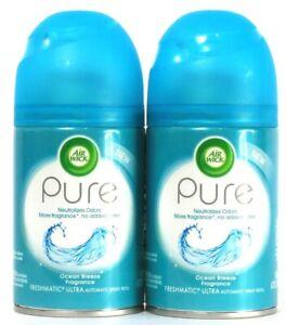 2 Ct Air Wick 6.17 Oz Pure Ocean Breeze Freshmatic Ultra Automatic Spray Refill