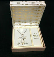 Diamond Cross Pendant Necklace in 18k silver over Sterling Silver (1/10 ct. t.w)