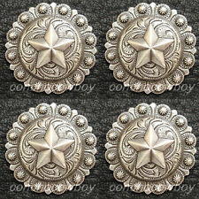 Set of 4 Western Saddle Headstall Antique Star Berry Conchos 1-1/4 screw back