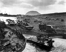 New 8x10 World War II Photo: Disabled Vehicles on Black Sands of Iwo Jima Beach