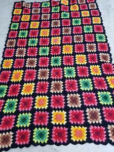 "Handmade Crochet Afghan Granny Squares Blanket Throw Vintage Rectangle 62"" X 42"""
