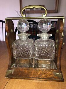 Antique 2 Crystal Liquor DECANTER The  TANTALUS SET By Betjemann's London #14932