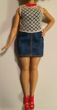 Barbie Doll Outfit DENIM ROMPER DRESS LACE TOP RED HEELS For Curvy Fashionistas