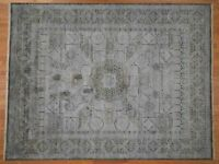"9'x11'7"" Silk With Textured Oxidized Wool Mamluk Design HandKnotted Rug G42017"
