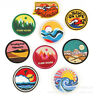 Scenery Round Badges Embroidery Iron on Patch Nature Appliques Shirt Hat Bag DIY