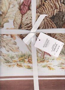 williams sonoma Autumn Plymouth Turkey tablecloth 70x126 watercolor pottery barn