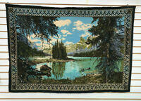 Vtg Spirit Island Jasper Canada Rocky Mountains Tapestry Wall Hanging ATC Turkey