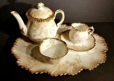 Antique Miniature Hammersley Bone China Tea Set w/ Tray Longton England c1912-39