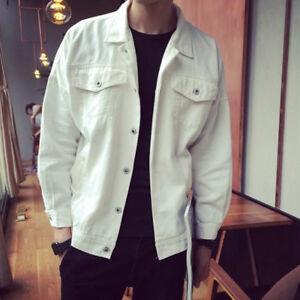 Men New Short Denim Jacket Casual Loose Long Sleeve Street Style Jacket Bar Coat