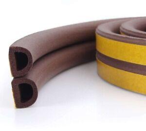 6m Brown Self Adhesive Door / Window Seal Strip - D Profile