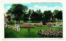 Springfield MO Fassnight Park Flower Garden 1932 Linen Post Card