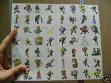 56 DIFFERENT SQUARE LINK ZELDA STICKERS LOT 8 STRIPS