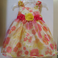Girls Nannette Yellow Floral Wedding Party Dress & Diaper Cover 12M NWT