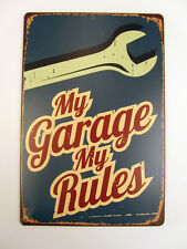 Retro Blechschild My Garage My Rules Nostalgie Metallschild Wanddeko Vintage USA