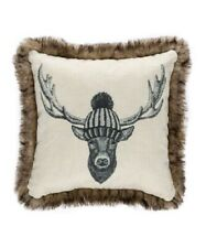 "Safdie & Co Deer with Hat Faux Fur Trim Throw Pillow Ivory Brown 17"" x 17"" $25"