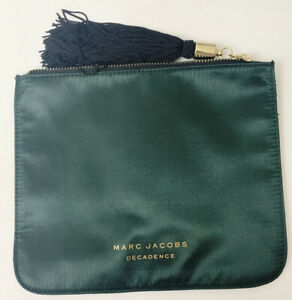 MARC JACOBS Decadence Dark Green Satin Clutch With Black/Gold Tassel