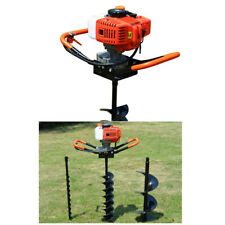 Gas Powered Post Hole Digger With 3 Drill Bits 52cc 22hp 2 Stroke Earth Auger