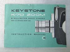 KEYSTONE K-70 Zoom 8 mm Movie Camera Instruction Manual,