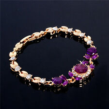 Fashion 18K Gold Plated Elegant Austrian Crystal Chain Bracelet Bangle Cuff New