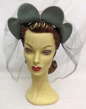 40s Unique Original Blue Hat with Face Veil and Flower Petal Design Feature.