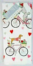 Casaba Dogs on Bicy 00006000 cle Valentines Day Kitchen Towels 2Pc Dachshund Poodle Gift