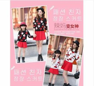MOTHER & DAUGHTER SWEATER AND SKIRT SET (BLACK AND RED)