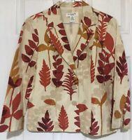 Rafealla Vintage Jacket Blazer PM Orange Cream Palm Vacation Floral Cruise