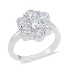 FLOWER DIAMOND SIMULATED STERLING SILVER FASHION RING SIZE 9.5 TCW 3.00