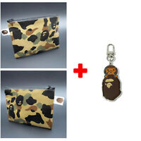 A BATHING APE Head Camo Wallet Mens Purse ID Card Bag BAPE Print Coin Money Clip