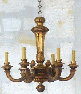 Gorgeous Antique Italian 6 Arms Gilded Carved Wood Chandelier Ceiling Late 1900