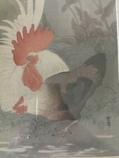 Original Japanese Woodblock Print by Ohara Koson Roosters Rare Framed Cocks